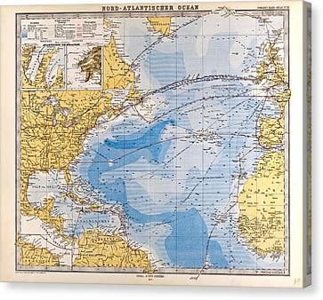 North Atlantic Ocean Map Gotha Justus Perthes 1872 Atlas Canvas Print