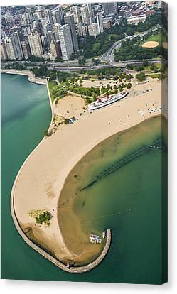 North Avenue Beach And Castaways Restaurant Canvas Print by Adam Romanowicz