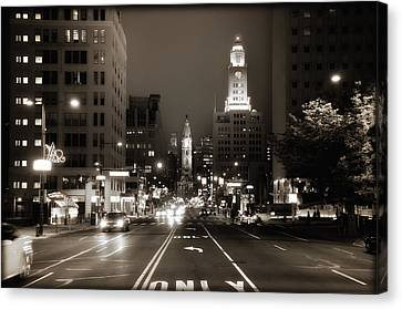 North Broad Facing City Hall Canvas Print by Bill Cannon