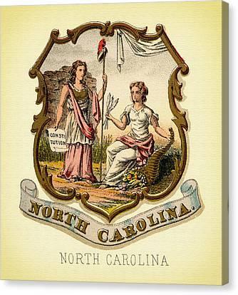 North Carolina Coat Of Arms - 1876 Canvas Print by Mountain Dreams
