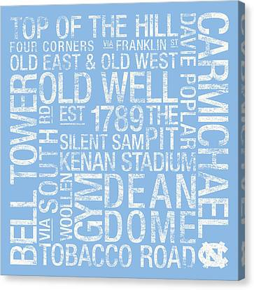 North Carolina College Colors Subway Art Canvas Print