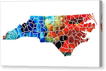 Panther Canvas Print - North Carolina - Colorful Wall Map By Sharon Cummings by Sharon Cummings