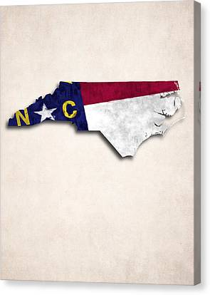 North Carolina Map Art With Flag Design Canvas Print by World Art Prints And Designs