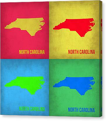 North Carolina Pop Art Map 1 Canvas Print by Naxart Studio