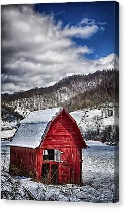 North Carolina Red Barn Canvas Print by John Haldane