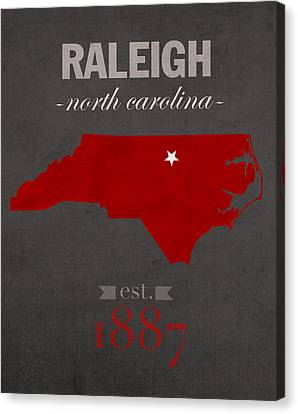 North Carolina State University Wolfpack Raleigh College Town State Map Poster Series No 077 Canvas Print by Design Turnpike