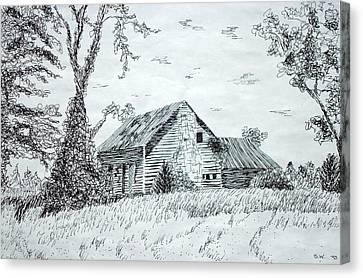 Old Cabins Canvas Print - North Carolina Vernacular by Susan Woodward