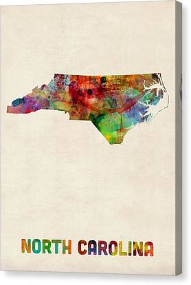 North Carolina Watercolor Map Canvas Print by Michael Tompsett