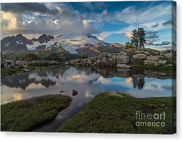 North Cascades Tarn Reflection Canvas Print by Mike Reid