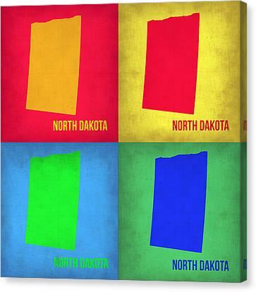 North Dakota Pop Art Map 1 Canvas Print by Naxart Studio