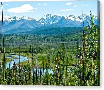 North Fork Of Flathead River And Mountains On West Side Of Glacier Np-mt Canvas Print