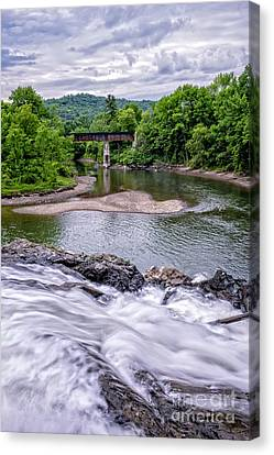 Railroad Bridge Canvas Print - North Hartland Vermont Swimming Hole by Edward Fielding