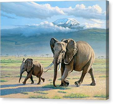 Elephants Canvas Print - North Of Kilimanjaro  by Paul Krapf