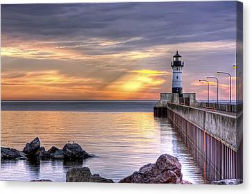 Duluth Canal Park Canal Park Lighthouse Lighthouse Lake Superior Minnesota Canvas Print - North Pier Morning by Bryan Benson