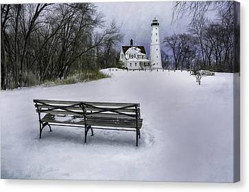 North Point Lighthouse And Bench Canvas Print by Scott Norris