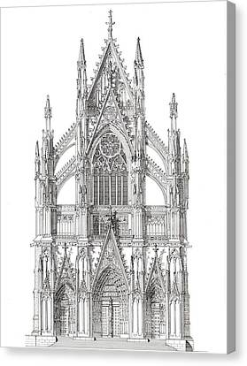 North Portal Cologne Cathedral Germany Canvas Print by John Simlett