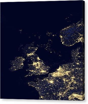 North Sea At Night, Satellite Image Canvas Print by Science Photo Library