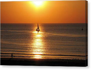 Canvas Print featuring the photograph North Sea Sunset by Gerry Bates