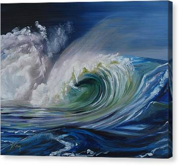 Canvas Print featuring the painting North Shore Curl by Donna Tuten