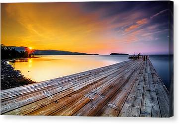 Canvas Print featuring the photograph North Shore Sunrise Grand Portage Mn by RC Pics