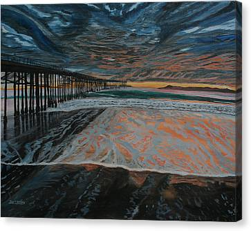 Canvas Print featuring the painting North Side Of The Ventura Pier by Ian Donley
