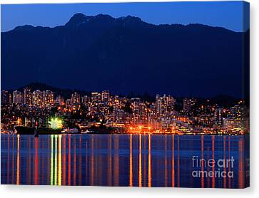 Vancouver At Night Canvas Print - North Vancouver At Dusk by Terry Elniski