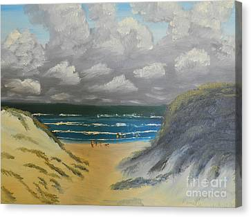 Canvas Print featuring the painting North Windang Beach by Pamela  Meredith