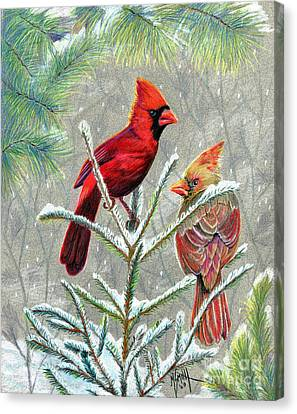 Northern Cardinals Canvas Print by Marilyn Smith
