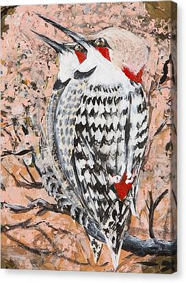 Canvas Print featuring the painting Northern Flickers by Cathy Long