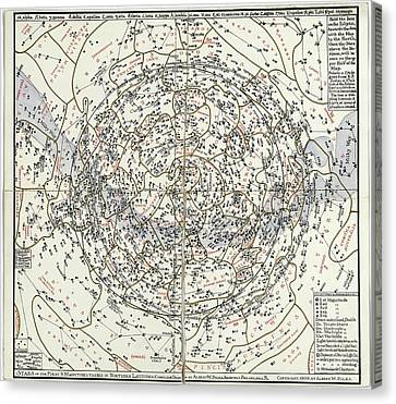 Northern Hemisphere Star Chart Canvas Print by Library Of Congress, Geography And Map Division