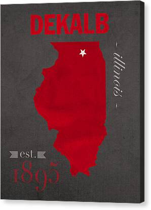 Northern Illinois University Huskies Dekalb Illinois College Town State Map Poster Series No 079 Canvas Print by Design Turnpike