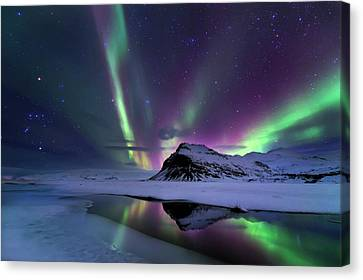 Winter Light Canvas Print - Northern Lights Reflection by Andrea Auf Dem