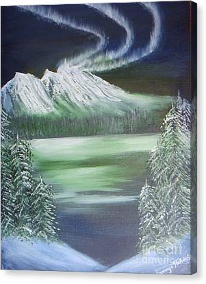 Canvas Print featuring the painting Northern Lights by Saranya Haridasan