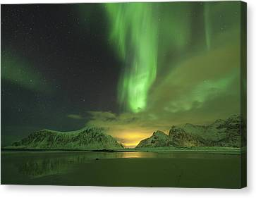 Northern Lights With Light Pollution Canvas Print by Sandra Schaenzer
