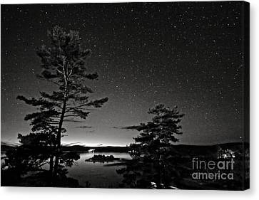 Northern Starry Sky Black White Canvas Print by Charline Xia