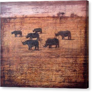 Northern White Rhinoceros, 2008 Oil On Board Canvas Print by Charlie Baird