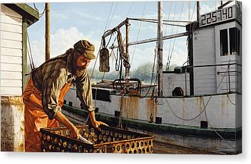 Canvas Print featuring the painting Northwest Fisherman by Ron Crabb