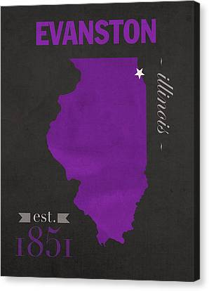 Northwestern University Wildcats Evanston Illinois College Town State Map Poster Series No 080 Canvas Print by Design Turnpike
