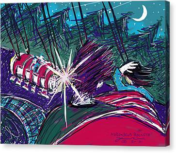 Canvas Print featuring the painting Norumbega Rockets by Jean Pacheco Ravinski