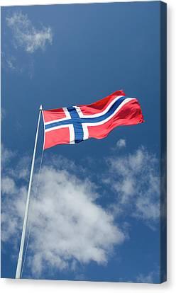 Norway, Bergen Norway Flag Canvas Print by Cindy Miller Hopkins
