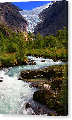 Norway Canvas Print - Norway Briksdal Glacier And River by Kymri Wilt