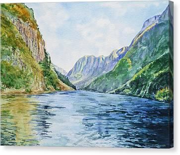 Canvas Print featuring the painting Norway Fjord by Irina Sztukowski