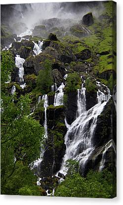 Norway, Flam Lush Waterfall In Flam Canvas Print by Kymri Wilt