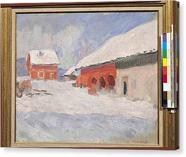 Norway, Red Houses At Bjornegaard, 1895 Oil On Canvas Canvas Print by Claude Monet