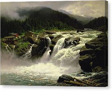 Norwegian Waterfall Canvas Print by Karl Paul Themistocles van Eckenbrecher