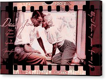 Nostalgia Joe Dimaggio And Marilyn Monroe Your Happiness Means My Happiness Canvas Print by Douglas MooreZart