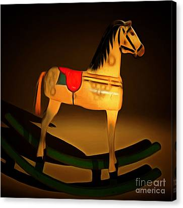 Nostalgic Vintage Seesaw Horse 20150226 Square Canvas Print by Wingsdomain Art and Photography