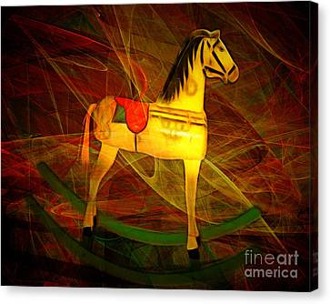 Nostalgic Vintage Seesaw Horse 20150226v2 Canvas Print by Wingsdomain Art and Photography