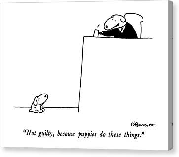 Dresses Canvas Print - Not Guilty, Because Puppies Do These Things by Charles Barsotti