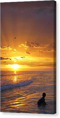 Black And Yellow Canvas Print - Not Yet - Sunset Art By Sharon Cummings by Sharon Cummings